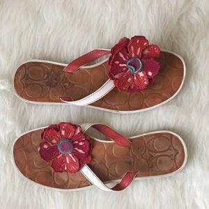 COACH LARISA Leather Poppy Flip Flop